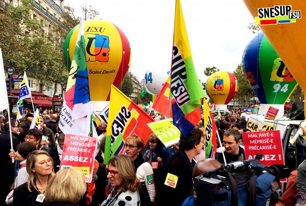 Manifestation de la Fonction publique du 10 octobre 2017 - Paris - CC-BY-SA SNESUP-FSU